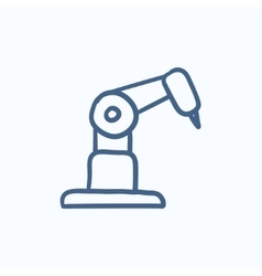 Industrial mechanical robot arm sketch icon vector