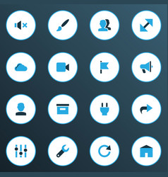 interface icons colored set with announcement vector image