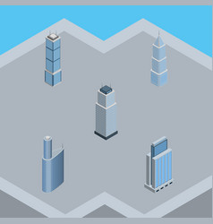 Isometric building set of urban tower apartment vector