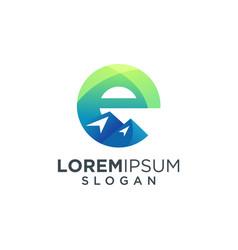 Letter e mountain logo design vector