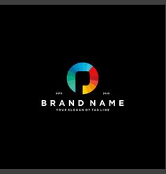 Letter p colorful logo design vector