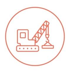 Lifting crane line icon vector