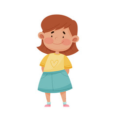 Little girl wearing blue skirt smiling showing vector