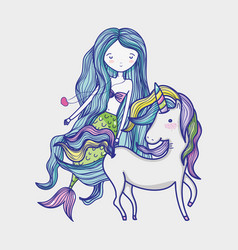 Little mermaid with unicorn art cartoon vector