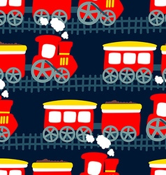 Little steam train in a seamless pattern vector image
