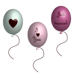 Love balloons in 3d vector