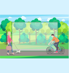 Man on bike and woman with small dog in green park vector