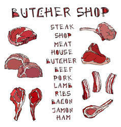Meat set with lettering steak house or butcher vector