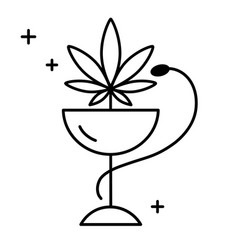 medical marijuana with a green snake vector image