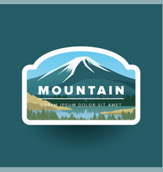 Mountain with snowy peak and river vector