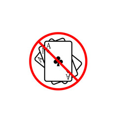 no gambling line icon prohibition sign forbidden vector image vector image