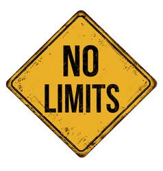 No limits vintage rusty metal sign vector