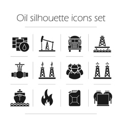 Oil production silhouette icons set vector