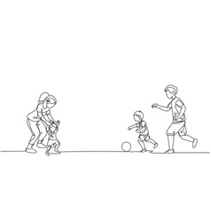 One continuous line drawing young father vector