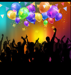 Party crowd with balloons and confetti vector