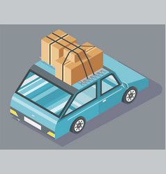 passenger car with cardboard boxes on top vector image