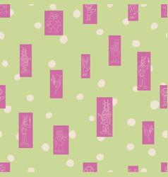 Pastel green polka dots anthropomorphic vector