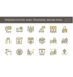 presentation and training icon set design 48x48 vector image