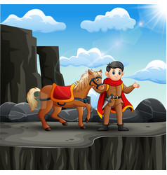 Prince with his horse on cliff vector