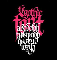 Pseudo-gothic english alphabet font for tattoo vector