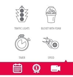Race traffic lights and speed icons vector