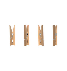 realistic detailed 3d wooden clothespins set vector image