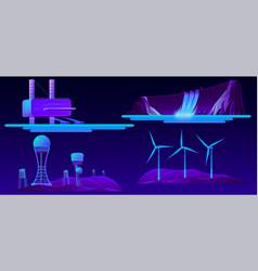 renewable energy modern sources cartoon set vector image