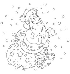 Santa with his gift bag vector