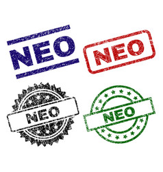 Scratched textured neo seal stamps vector