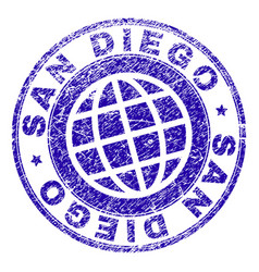 scratched textured san diego stamp seal vector image