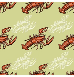 Seamless background with lobster vector