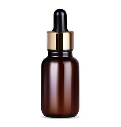 serum bottle with dropper brown glass mock up 3d vector image