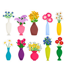 set colored vases with blooming flowers vector image