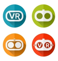 Set icons of virtual reality vector