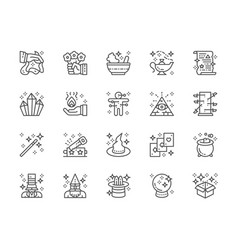 set magic show line icons witch hat vector image