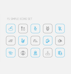 set of 15 editable cleaning icons line style vector image