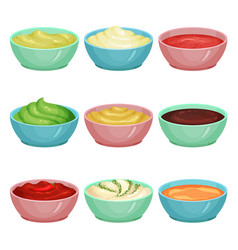 Set of different sauces in dip bowls ketchup vector