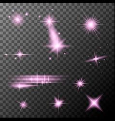 set pink lens flares pink sparkles shine vector image