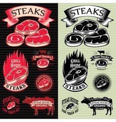 Set steak template for grilling vector