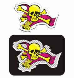 skull with crossbones and roses vector image
