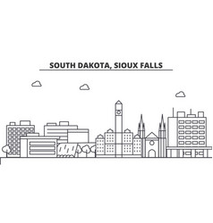 South dakota sioux falls architecture line vector