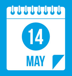 Spiral calendar page 14th of may icon white vector