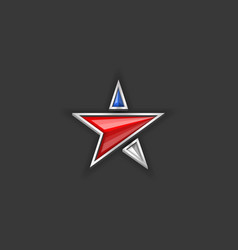 Star logo usa flag colors american independence vector
