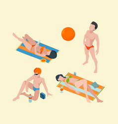 summer people isometric male and female vacation vector image