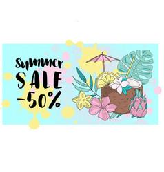 Summer sale banner business color vector