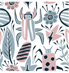 summer seamless pattern with bugs and leaves vector image