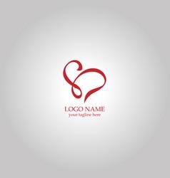 swirl letter s love logo vector image
