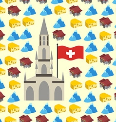 Switzerland seamless pattern of symbols of country vector image