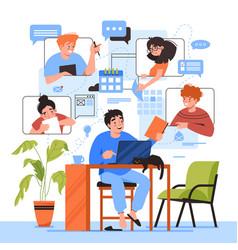 Teamwork online home office team communication vector