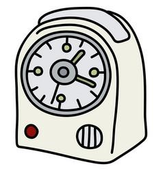 The white small alarm clock vector
